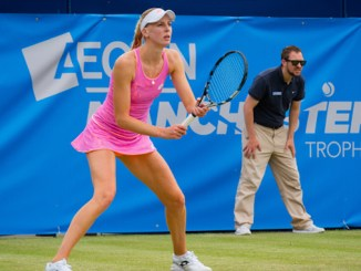 Naomi Broady in action at the Aegon Manchester Trophy