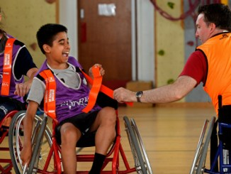 Sales Sharks coach Vicky Irwin, CADS clubber Ahnaf Khan and support worker Iain O'Neil enjoy wheelchair tag