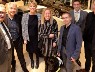 Ged Mason from Morson International, Dominic Tinner and Rachel McCrystal from Seashell Trust, Paralympians and Seashell ambassadors Laura and Neil Fachie, Nik Boxall from Aston Martin, and Matt Townsend from Ultimate