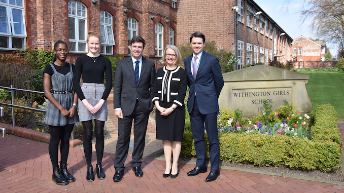 Nicola Ayoo (Deputy Head Girl), Florence Bradshaw (Head Girl), Andy Burnham, headmistress Sarah Haslam and Malcolm Pike (Chair of Governors)