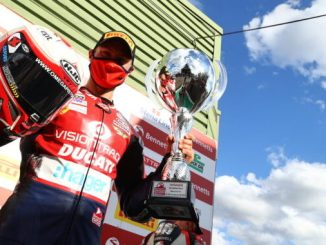 Christian Iddon celebrates his maiden BSB win