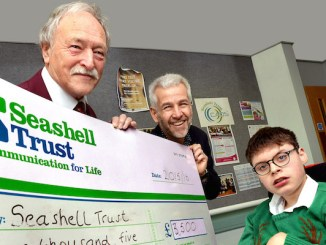 Fred Finley, Seashell Trust's Dominic Tinner and Seashell student Jonathan Jemison
