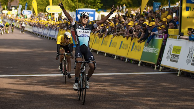 Matteo Trentin wins the Tour of Britain stage in Nottingham in 2015