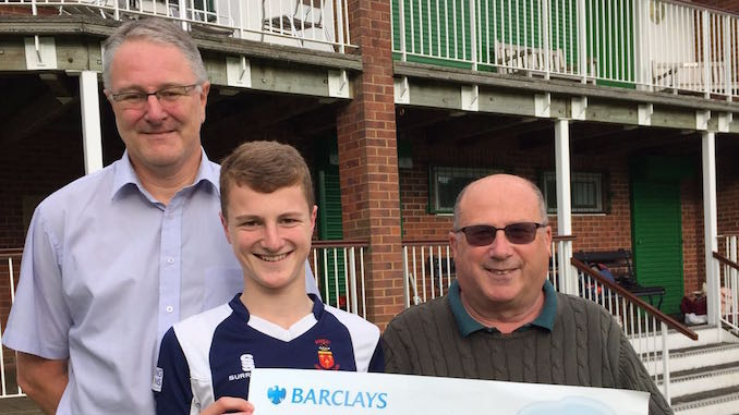 Dad Paul Hooton, Alex Hooton and Romiley Cricket Club chairman Mike Rowe