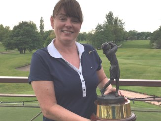 Fiona Flanagan with the Bunty Booth Trophy