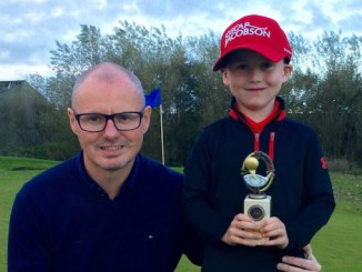 Max Gilsenan and dad James at Chorlton Golf Club