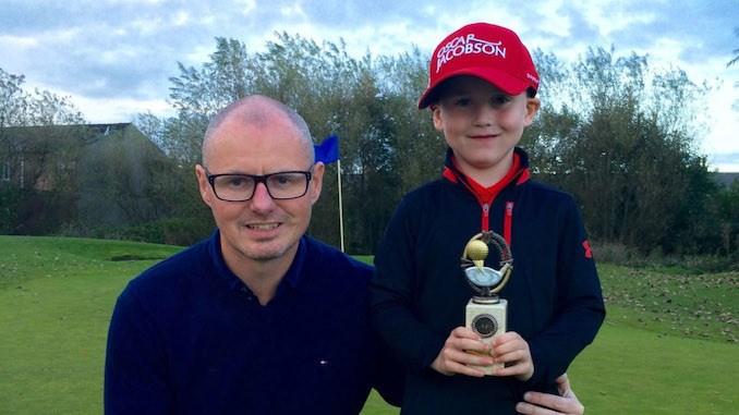 Max Gilsenan and dad James at Chorlton Golf Club