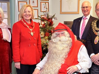 Father Christmas at Seashell Trust with Eja Rostron, Dr Margaret Gordon, Honorary Consul of Finland, Chris Rostron, and the Mayor of Stockport, Councillor Chris Gordon