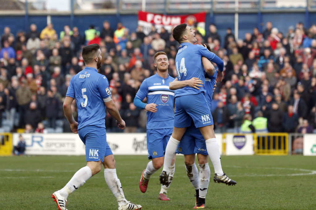 County celebrate Scott Duxbury's winner against FC United