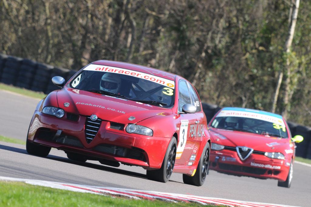 BRSCC Alfa Romeos in action at Oulton Park