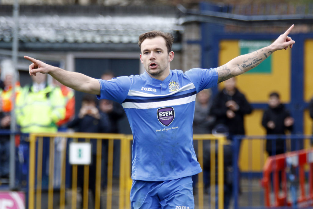 Danny Lloyd scores from the spot, putting County ahead, against Nuneaton