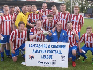 Lancashire and Cheshire AFL side Mellor celebrate their Rhodes Cup win