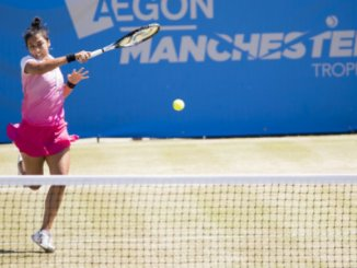 Zarina Diyas in action in the Manchester Trophy
