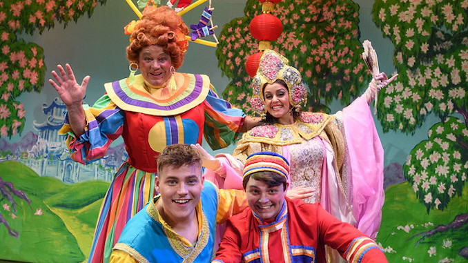 The cast of Aladdin at Stockport Plaza including Ted Robbins
