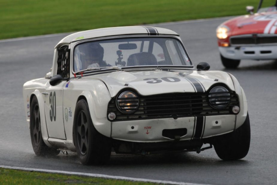 The Petch's Triumph TR5 in action at Oulton Park