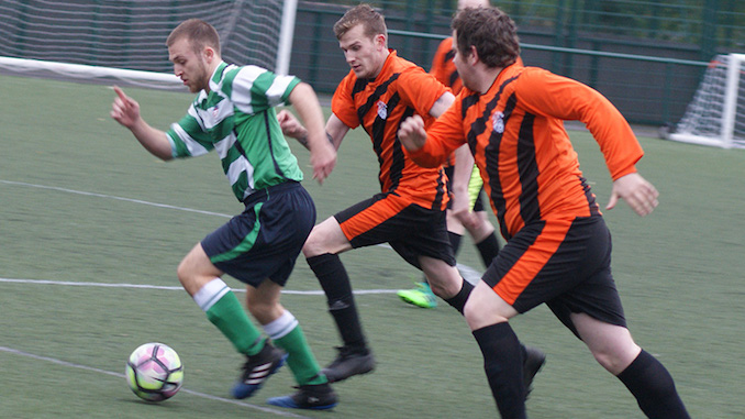 Trafford United seconds v Salford Vics seconds (Salford in green and white)