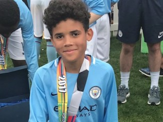 Isaac Okeregha in America with Manchester City