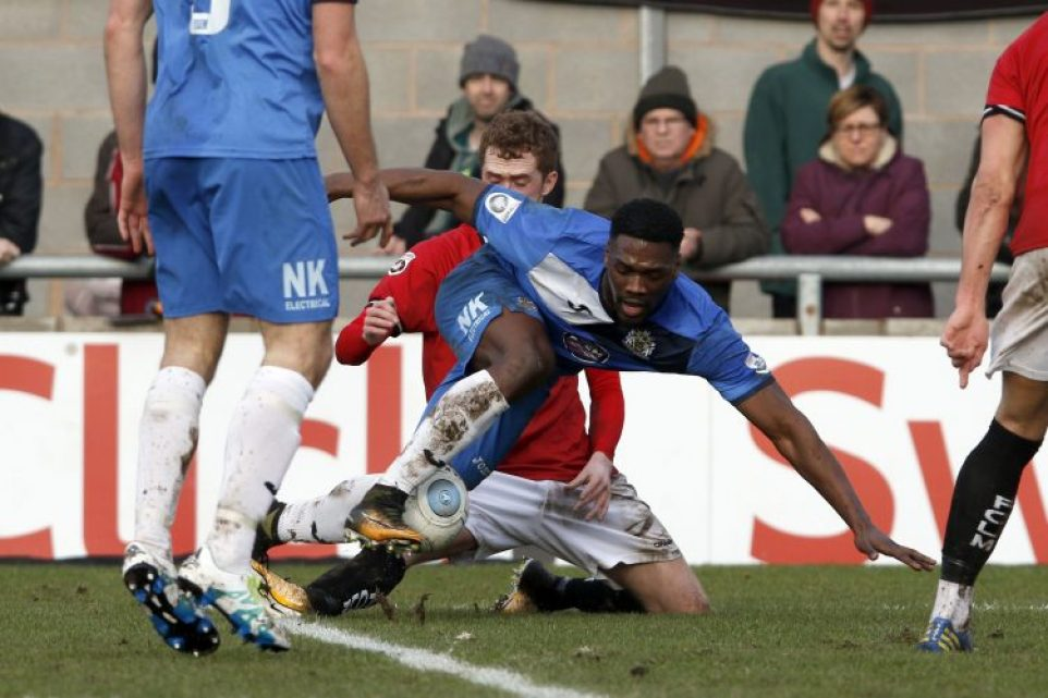 Darren Stephenson gets stuck in, as County beat FC United 1-0