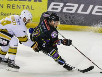 Luke Moffatt on the ice for Manchester Storm against Nottingham Panthers