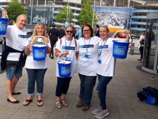 Vicki Booth, Sue Gilburn, Margaret Pike, Rachel Hicklin and Beverley Leadbetter who took part in the collection at The Etihad