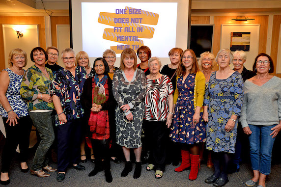Mental Health Carers Group Stockport launches its new campaign at Stockport County - chair Irene Harris is front and centre