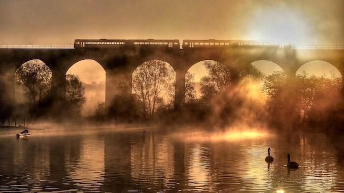 John Varley's winning photo of Reddish Vale viaduct