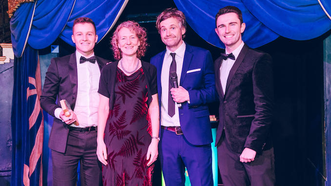 Alex Deakin and Judith Aspin with comedian Rob Rouse and Smart Money People's Scott Connelly