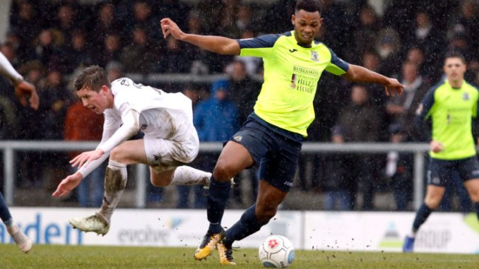 Nyal Bell on the ball for Stockport County