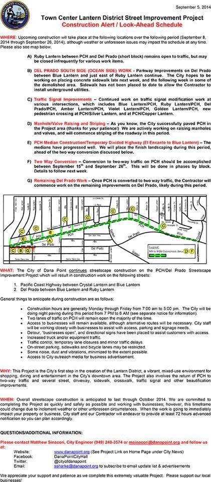 Dana Point Lantern District Street Improvements Impacts This Week