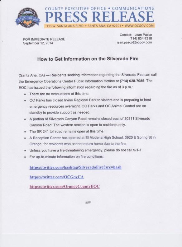 orange county press release fire
