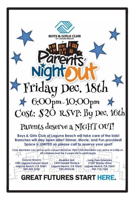 parents night out boys and girls club laguna beach