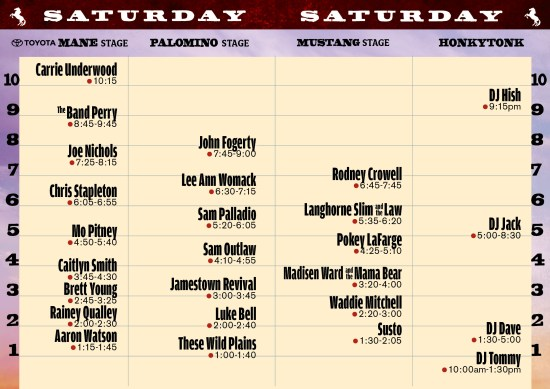 StageCoach Saturday April 30 2016 Lineup