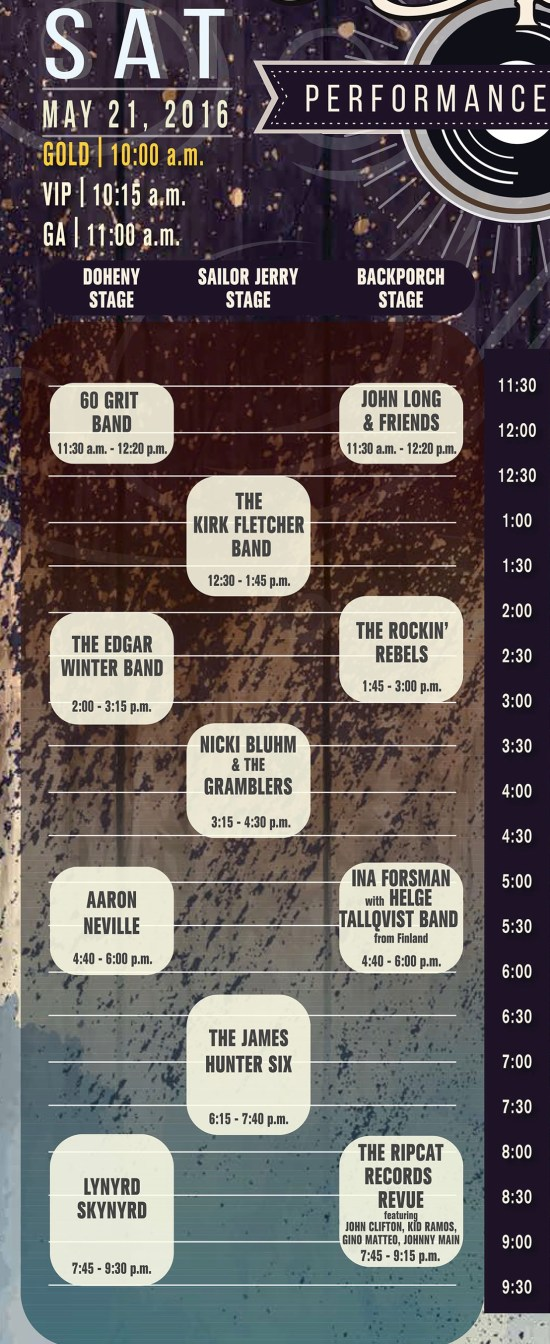 Doheny Blues Festival Saturday May 21 2016 Lineup