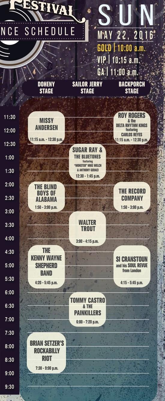 Doheny Blues Festival Sunday May 22 2016 Lineup
