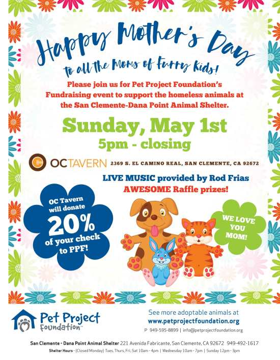 San Clemente Pet Project Foundation Fundraiser May 1 2016