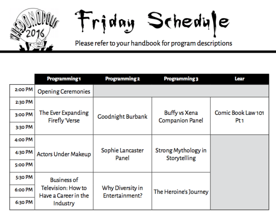 Whedonopolis 2016 Friday May 13 2016 Schedule
