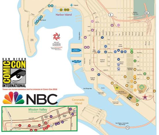 Comic Con Free Shuttle Map 2016 by Comic-Con.org