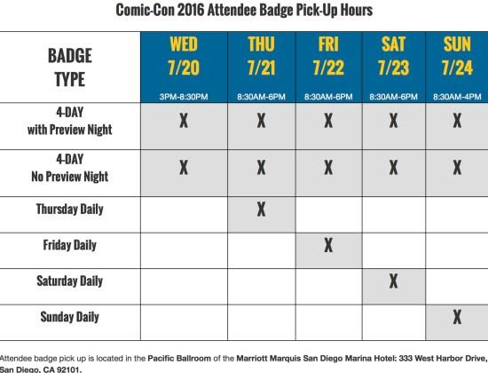 Comic Con 2016 Badge Pickup