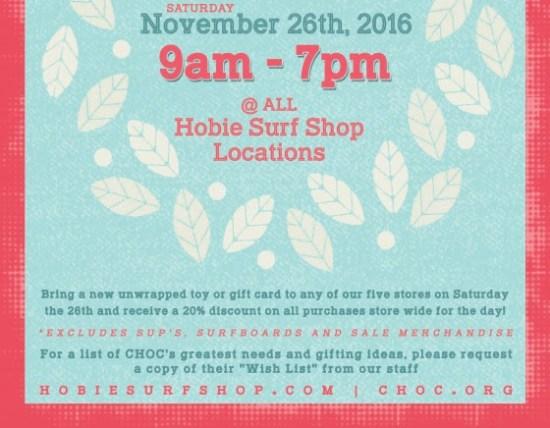 Hobie Surf Shops Choc Toy Drive Saturday November 26 2016 South Oc