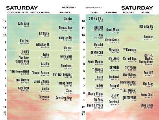 Coachella 2017 Saturday Lineup