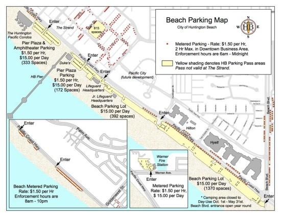 Huntington Beach Beach Parking Map