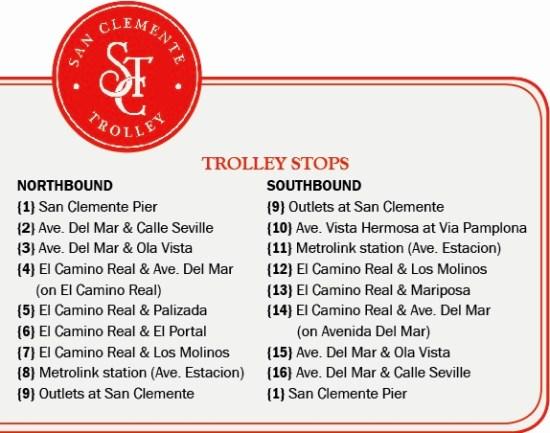 San Clemente Trolley Stops Summer 2017