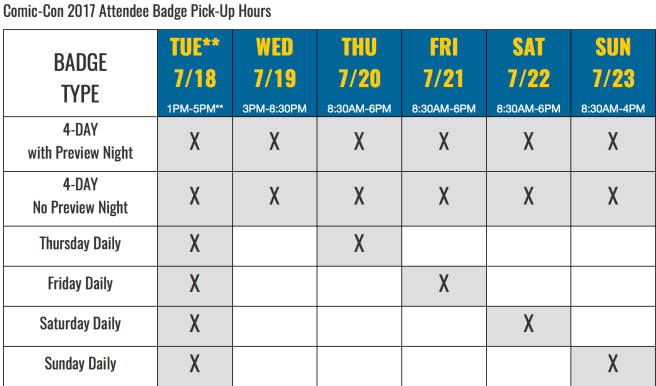 Comic Con 2017 Badge Pickup Schedule