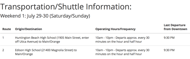 Vans US Open of Surfing Huntington Beach Shuttle Info