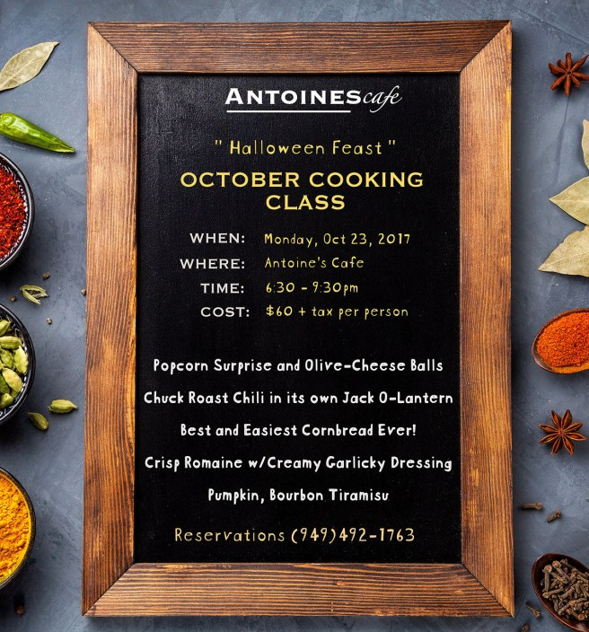 San Clemente California: Antoine's Cafe Cooking Class October 23 2017