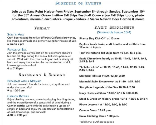 Dana Point Ocean Institute Tall Ships Festival September 2017 Event Schedule