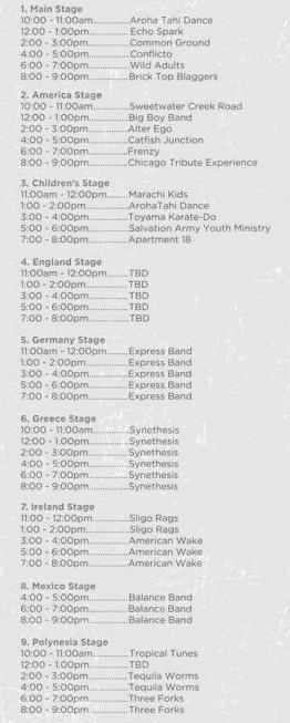 Orange Street Fair Saturday September 2 2017 Entertainment Lineup