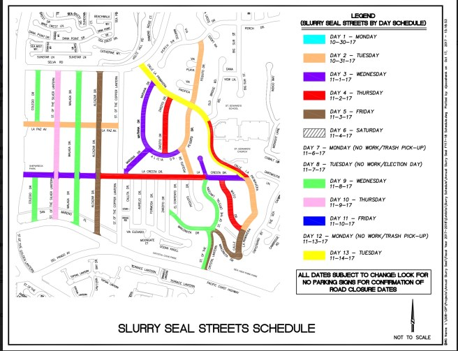 Dana Point California Slurry Seal Streets Schedule Fall 2017 Map #2