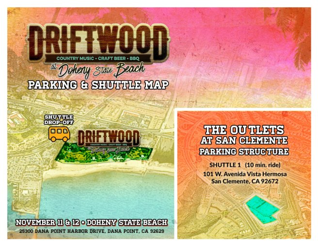 Driftwood Country Music Festival 2017 Dana Point CA Parking & Shuttle Map