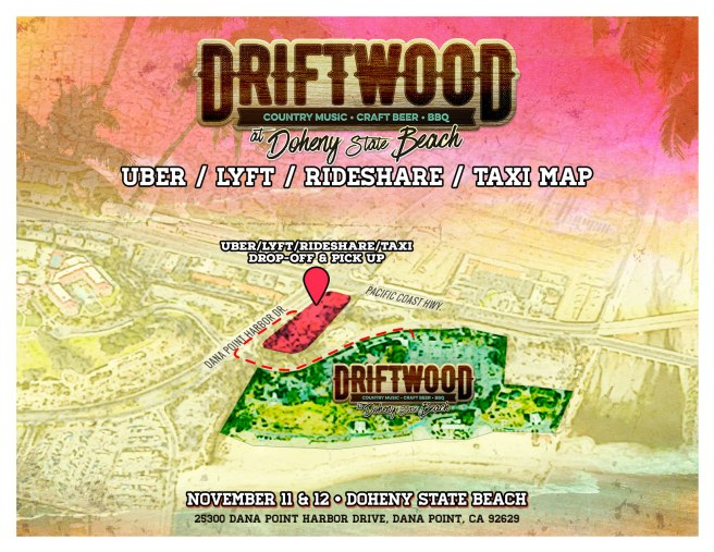 Driftwood Country Music Festival 2017 Dana Point CA Ride Share Map